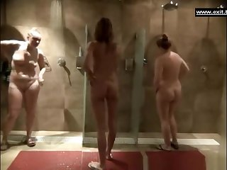 Gorgeous milfs all over a public shower room