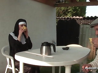 Young french nun sodomized round threesome with Papy Voyeur