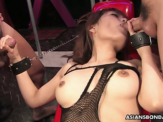 Asian tart in crowd fishnet Yui Shimizu is fucked overwrought two kinky perverts