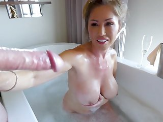 Feeding his cock more an Asian milf slut in the bathtub
