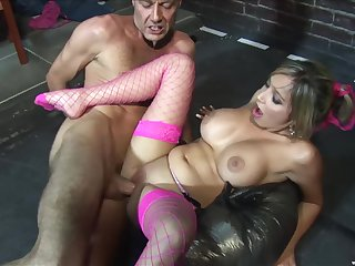 Blonde porn star in fishnet stockings Romana Ryder rides a hard cock