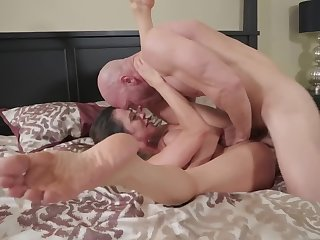 A skinny bitch with huge tits is getting some locate inside her body