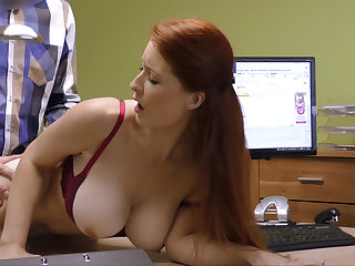Appealing boobs for credit manager. Redhead
