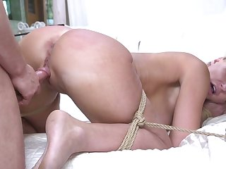 Plighted big racked submissive bondage whore London River is banged doggy