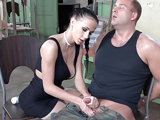 Sexy brunette play with dick be beneficial to military