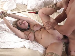 Gagged Latina slut Skylar Snow can without equal shed tears as her anus is torn apart