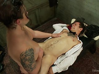 Hot mistress as fucks male slave then sits on his face