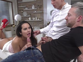 Slutty brunette girlfriend Mina K with glasses fucked in her ass