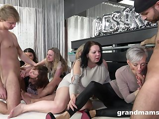 Nasty fucking chiefly the floor with as often as not of mature ladis and two guys