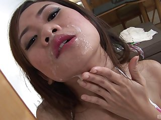 X-rated Eve feeds her unshaved pussy with a friend's long pecker