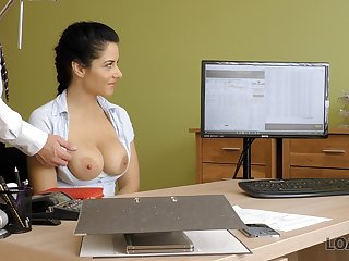 LOAN4K. Brilliant lady Alex works with snatch to open