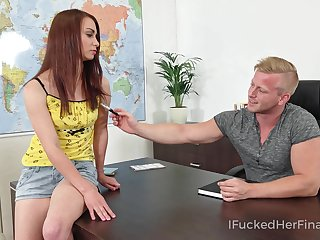 Saucy let pass bangs her geography teacher on top of his desk