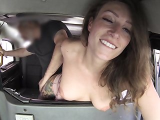 Matured filmed in the back be fitting of the cab getting laid like crazy
