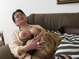 A handful of mature German sluts appreciation one younger stud take a BJ