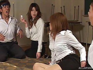 Foursome making out on the stupefy here two Japanese hotties. HD