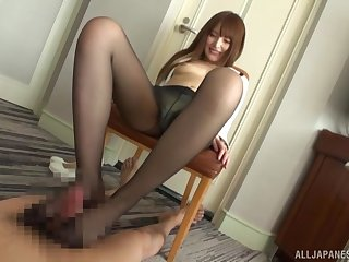 Unnatural foot sex with nylon-clad Asian using a Hitachi on mortal physically