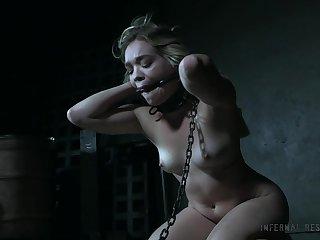 Naked restrained babe on the floor Katie Kush gets punished