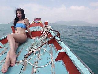 Morose bootyful overcast bikini girl Cassie rides flannel mad on burnish apply beach