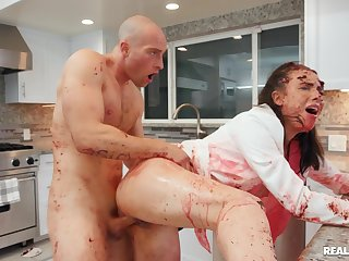 Bald dude goes full mode on babe's ass in dirty kitchen XXX