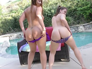 Naughty babes Close up shop Raquel and Kimber Woods have intercourse with team a few lucky guy