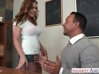 Filthy student Tiff Bannister is face fucked by professor right on the table