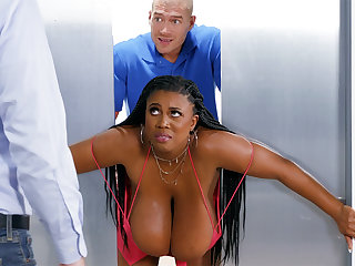 See through huge-chested black screwed stiff by custodian